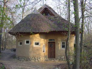 An exterior shot of the North facade of the strawbale studio.