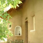 A shot of the exterior front facade of the Strawbale Studio.